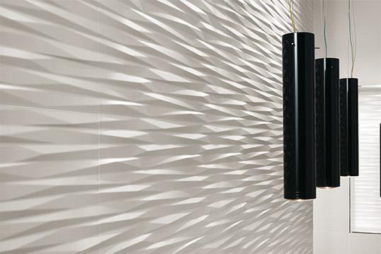Белая плитка с рельефом