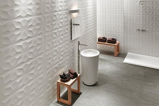 Белая рельефная плитка для стен, Италия