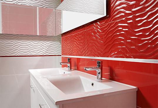 Белая рельефная плитка для ванной