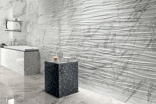 Белая рельефная плитка под мрамор
