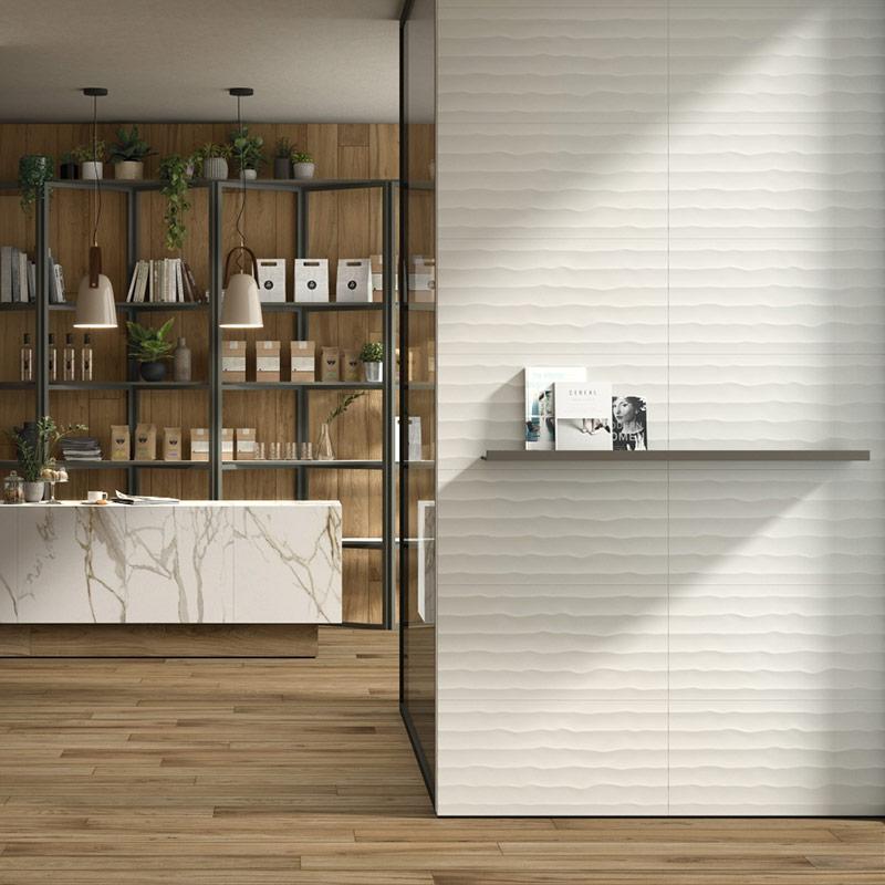 Italon 3D Experience – белая рельефная плитка с шелковистой поверхностью