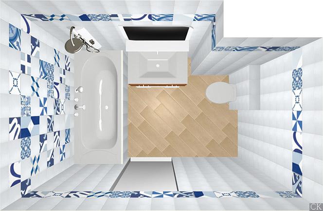 Дизайн проект ванной комнаты с плиткой пэчворк