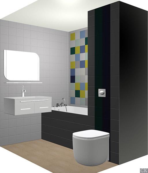 Дизайн проект ванной комнаты с керамической плиткой