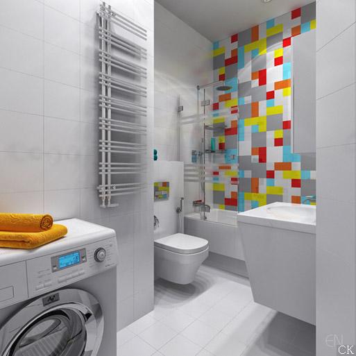 Дизайн проект ванной комнаты  с плиткой