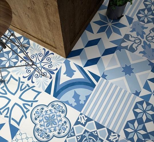 Напольная дизайнерская плитка с эффектными орнаментами пэчворк