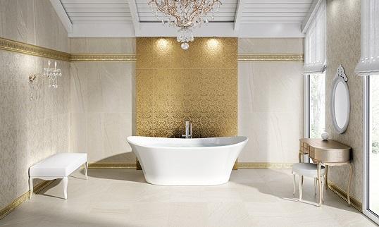 Плитка для классической ванной с металлизированными золотыми декорами
