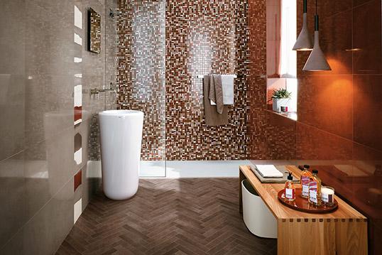 Плитка в ванную в коричневых тонах