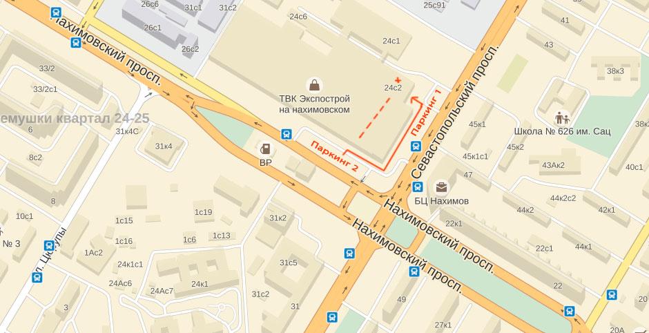 Схема расположения паркинга перед магазином