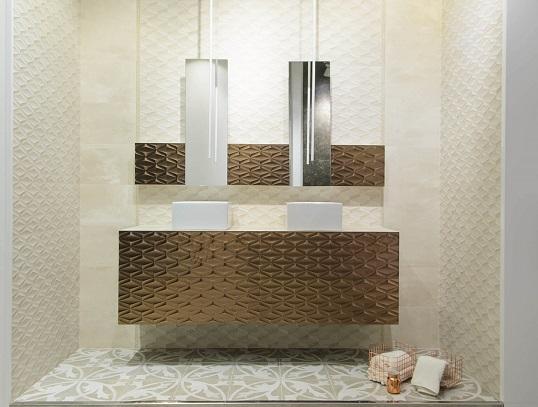 Плитка в стиле индастриал с золотыми рельефными декорами