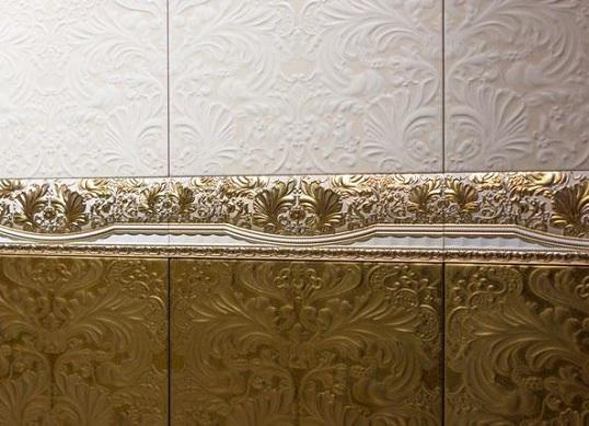 Плитка с золотыми и бронзовыми вставками, для стен ванной и кухни