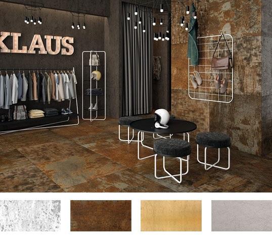 Дизайнерская плитка под металл на пол и стены