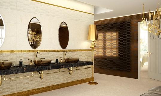 Плитка с имитацией металлизированной мозаики в египетском стиле