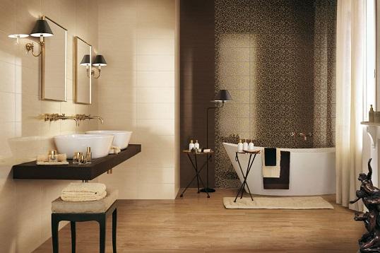 Шоколадная глянцевая плитка для ванной