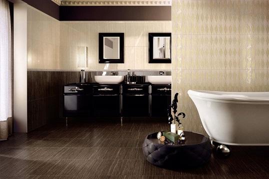 Шоколадная плитка под травертин для ванной