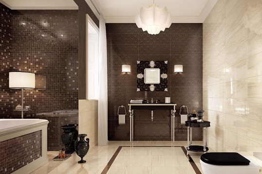 Коричнево-бежевая плитка в ванную