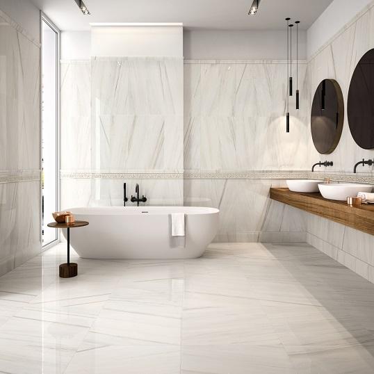 Плитка для ванной под белый мрамор с полосчатым рисунком, новинка 2018