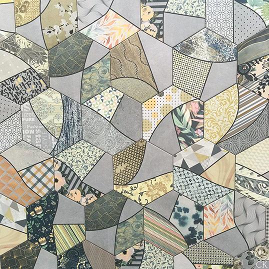 Необычная шестиугольная плитка пэчворк
