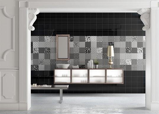 Черно-белая плитка в стиле пэчворк