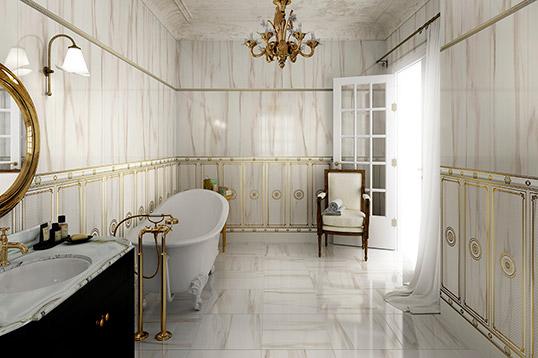 Настенная плитка под белый мрамор для ванной комнаты в классическом стиле