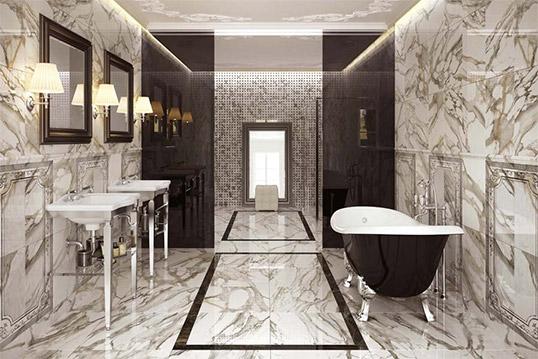 Настенная плитка под белый мрамор для ванной