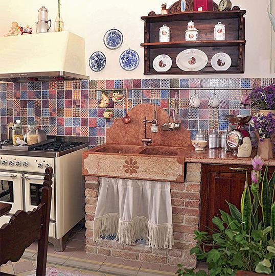 Дизайнерская плитка для кухни в стиле прованс