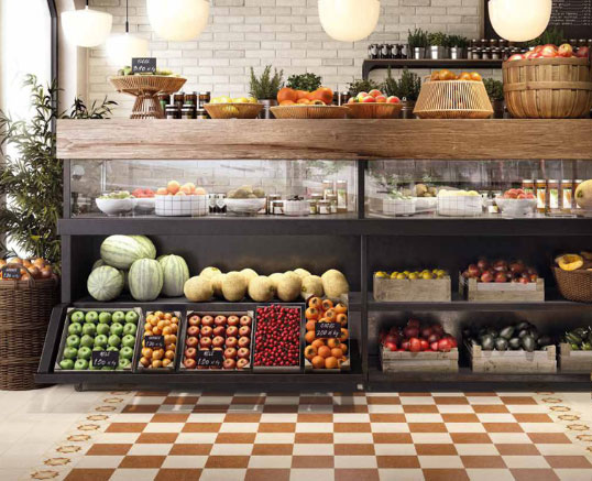 Состаренная плитка под кирпич для кухни прованс