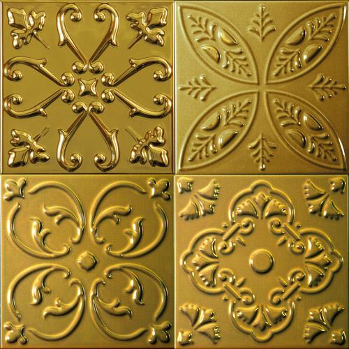 Желто-золотая 3D плитка для ванной