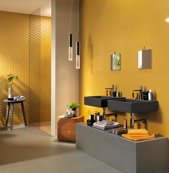 Желтая сатинированная плитка для ванной комнаты, новинка!