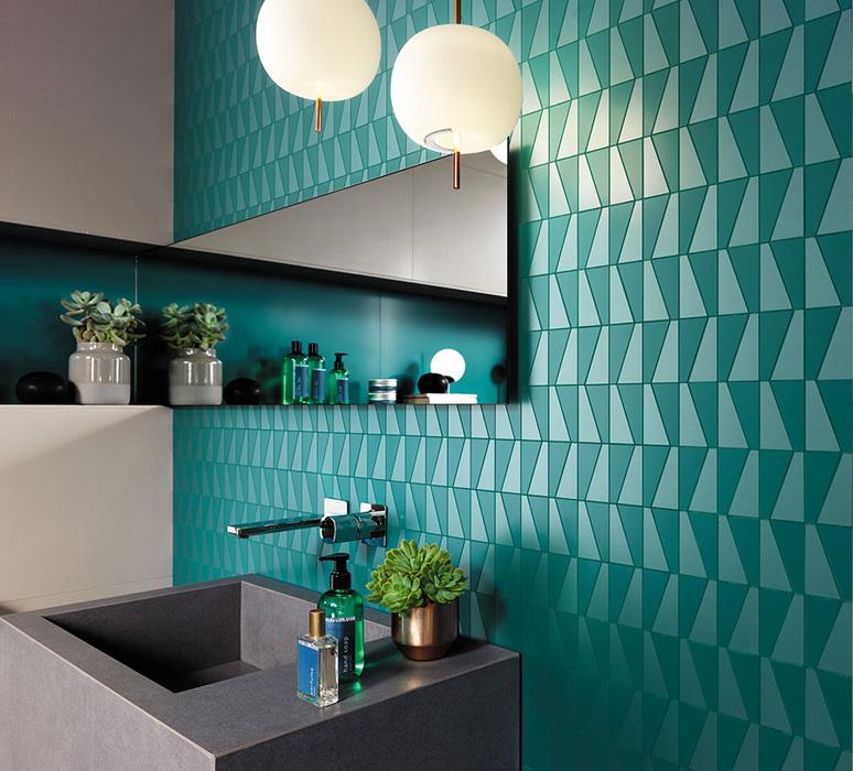 Темно-бирюзовая плитка для ванной комнаты