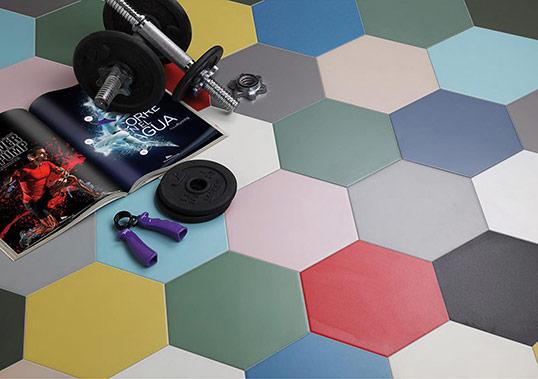 Однотонная шестиугольная плитка в 14 оттенках