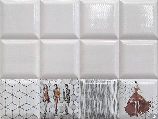 Белая плитка с узором из мелкой сетки, 15х15 см