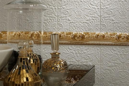 Белая плитка с узором эпохи ренессанс для ванной и кухни