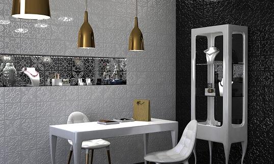Испанская белая плитка с рельефным орнаментом, 20х20 см