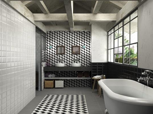 Белая плитка с черно-белым узором в викторианском стиле