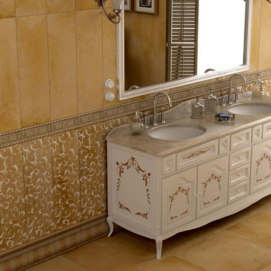 Желтая плитка для ванной с орнаментом