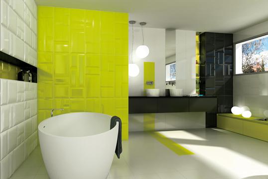 Лимонно желтая плитка для ванной