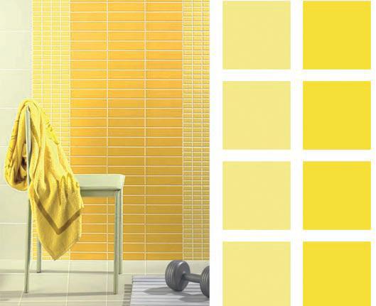 Однотонная желтая плитка для ванной