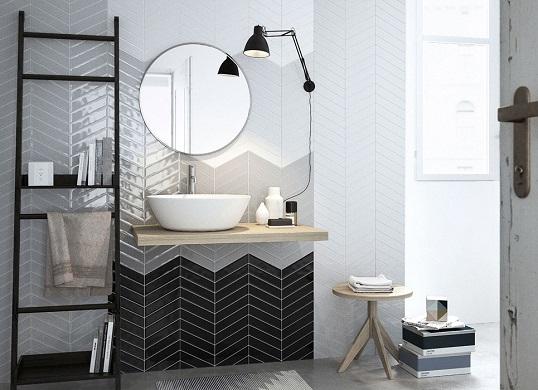 Плитка шеврон для ванной в скандинавском стиле