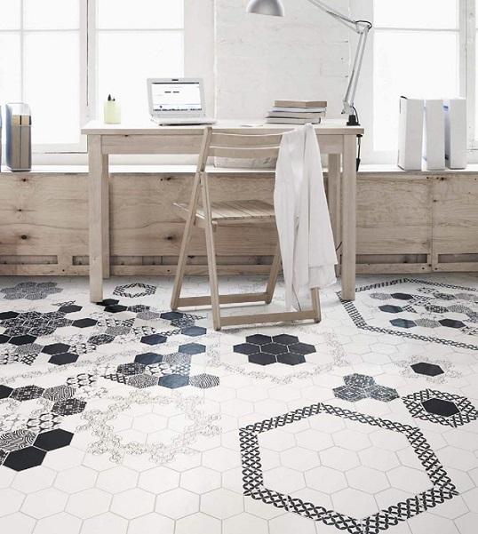 Шестигранная плитка для ванной комнаты в скандинавском стиле