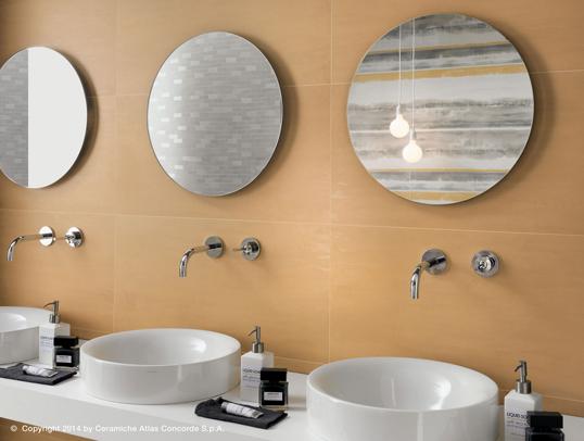 Сатинированная плитка для ванной желтого цвета