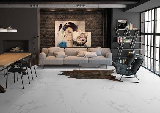 Напольная плитка белоснежного цвета под итальянский каррарский мрамор