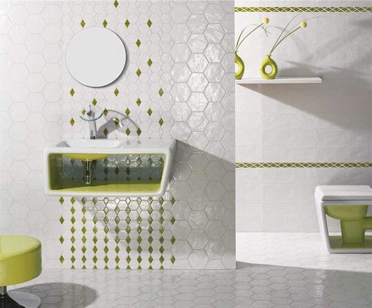 Белый керамогранит для пола и стен шестигранной формы