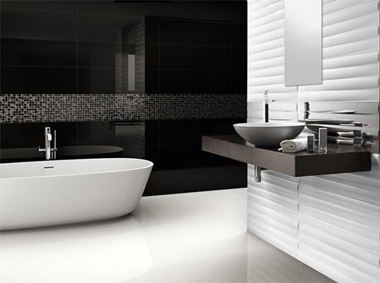 Белая рельефная плитка для ванной комнаты