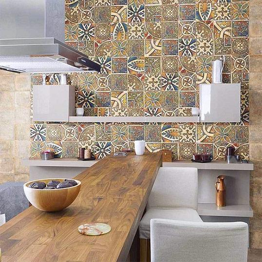 Плитка 20х20 см авангардными орнаментами в восточном стиле