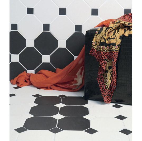 Черно-белая плитка восьмиугольник для ванной
