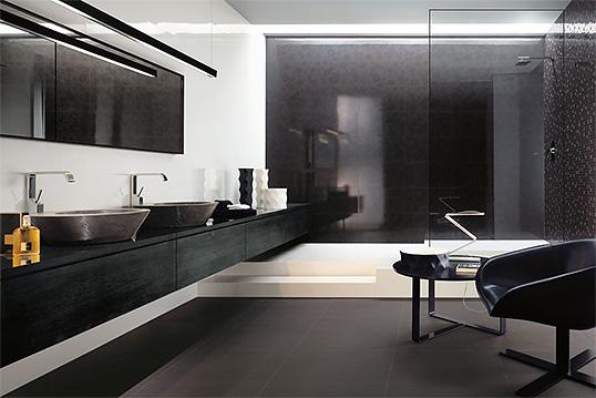 Плитка черно белая для ванной, глянцевая