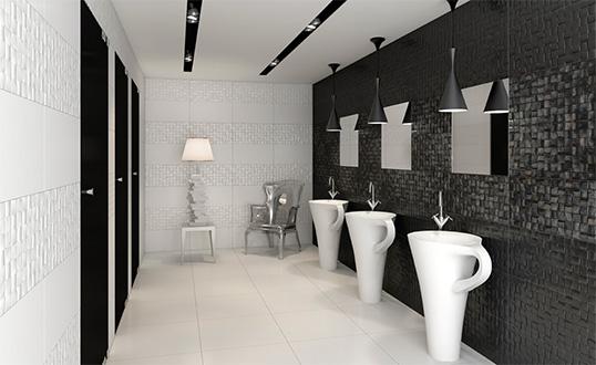 Черно белая плитка для ванной