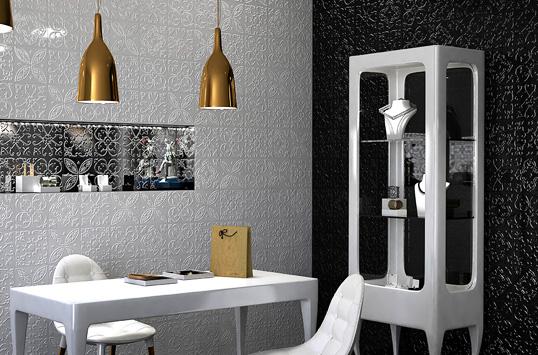 Черно-белая плитка для ванной комнаты, рельефная
