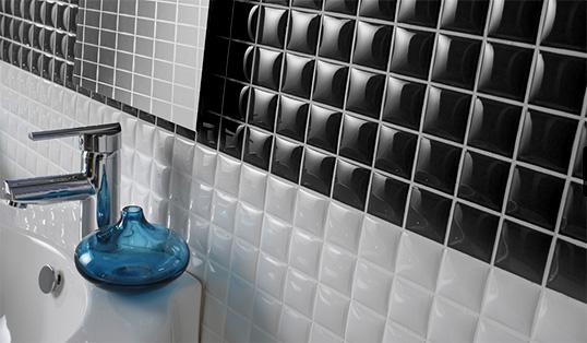 Черно-белая плитка для ванной, под мозаику