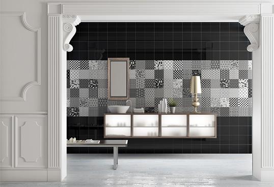 Черно белая плитка в ванную комнату, с рисунком